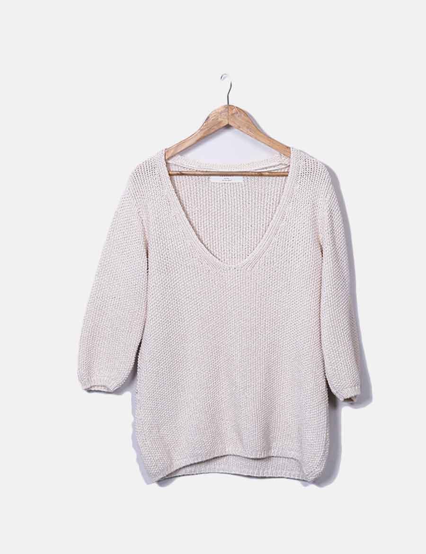 satinado mujer Zara Jersey punto con Tops online beige qK4z67wa ... c9a404fc26e8
