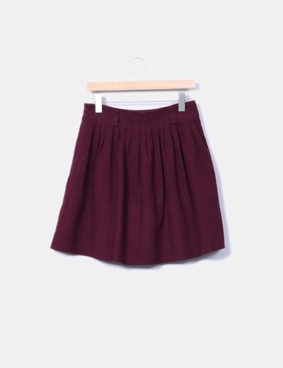 Falda midi morada de paño Sfera