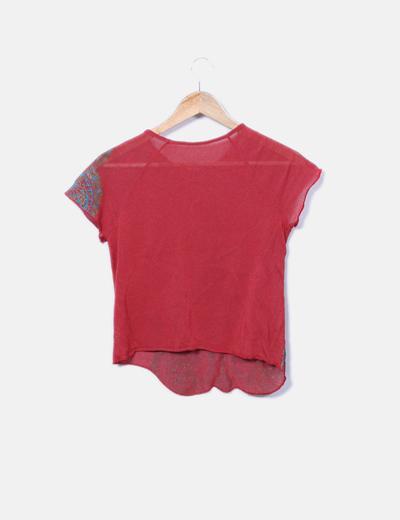 Camiseta de punto semitransparente roja