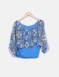 Blusa azul estampada con elástico NoName
