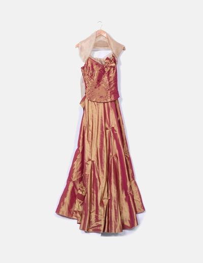 Maxi vestido tornasolado ceremonia NoName