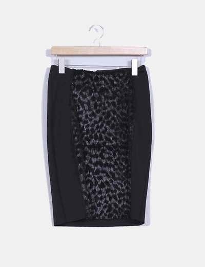 Falda midi negra combinada