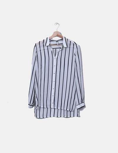 Camisa de gasa blanca rayas negras