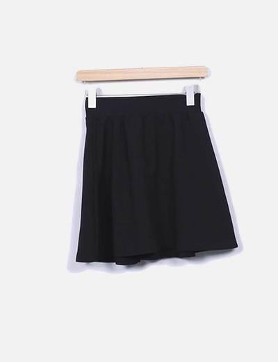 Mini-jupe noire texturé Mango