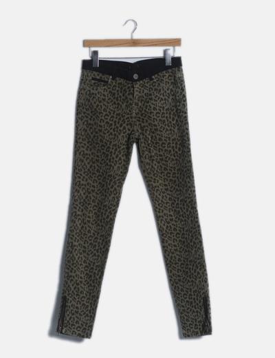 Jeans denim verde animal print