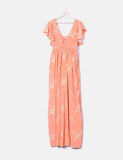 Maxi vestido salmón floral satinado Hoss Intropia