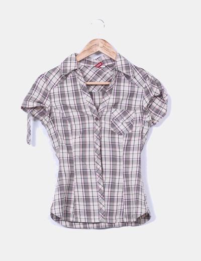 Camisa de cuadros beige H&M