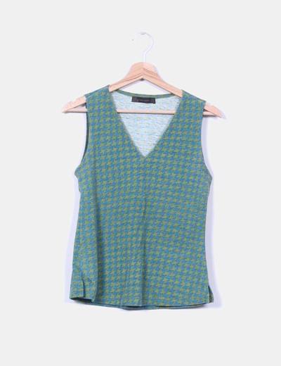 Camiseta pata de gallo verde y azul Zara