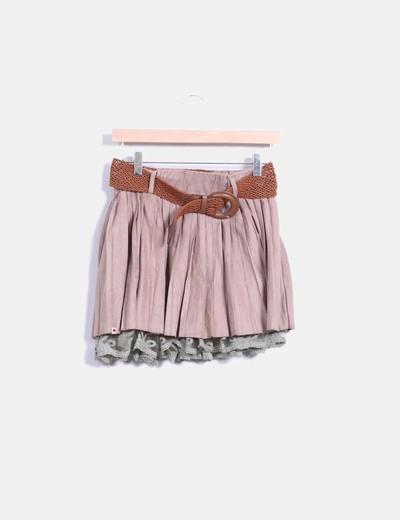 Falda combinada de ante marrón con cinturón Kling