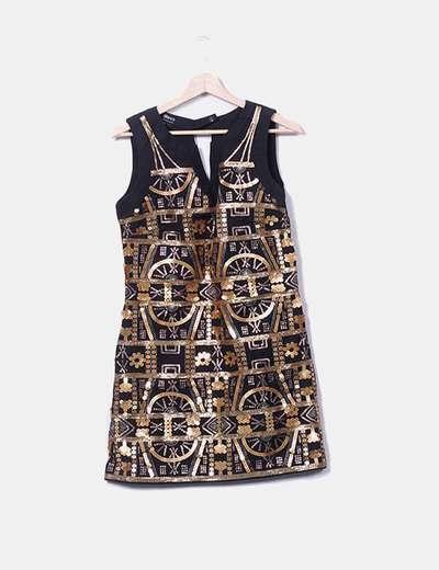 Vestido negro paillettes gold