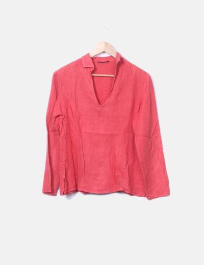 Blusa roja de lino