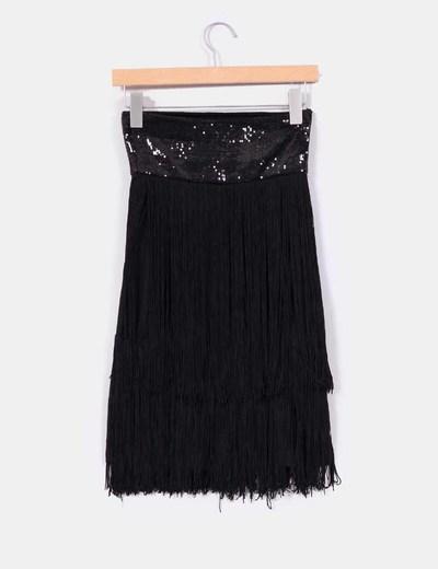 productos de calidad buena venta online Vestido negro con flecos y lentejuelas