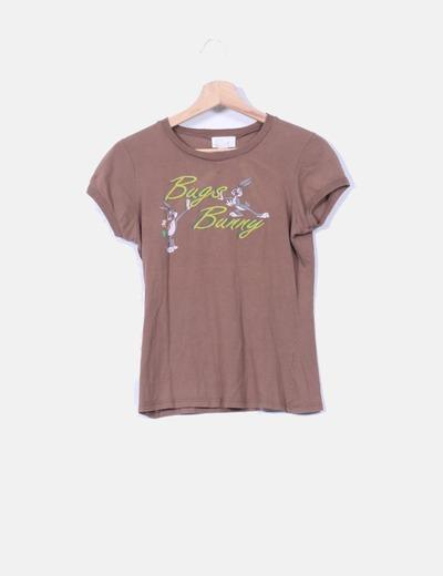 Camiseta marrón Bugs Bunny Bershka