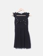 Schwarzes Kleid drucken Vögel Pull&Bear