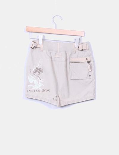 Mini falda beige con bolsillos