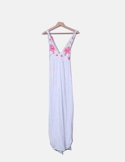 Vestido maxi branco com bordados estampado floral Accessorize