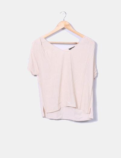 Camiseta beige topos manga corta Massimo Dutti
