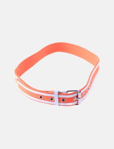Cinturón naranja raya blanca