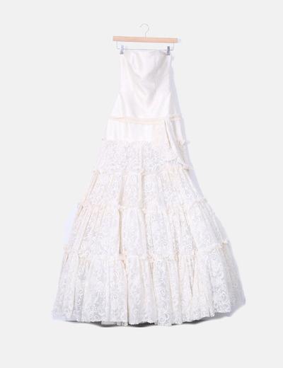 Vestido de fiesta color crema