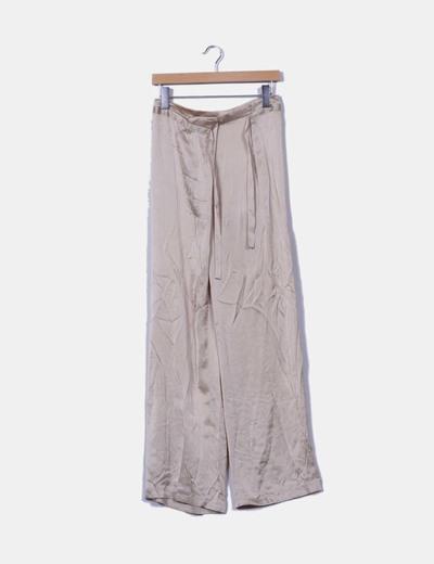 Pantalón beige de seda pata ancha P.A.R.O.S.H