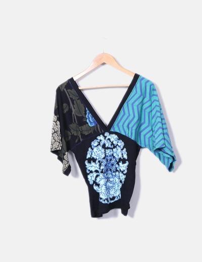 T-shirt multi-couleurs imprimé col en v Desigual