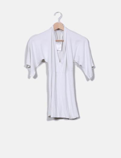 Top blanco cintura elástica canalé Bershka