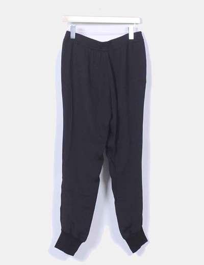 Pantalon baggy de seda negro cintura elastica