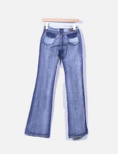 Jeans denim campana bolsillos combinados