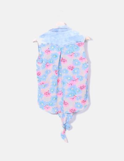 Camisa combinada floral manga sisa