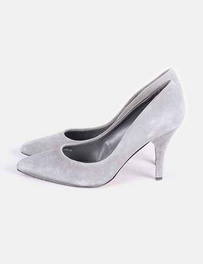 Zapato salón gris tacón medio  Mango