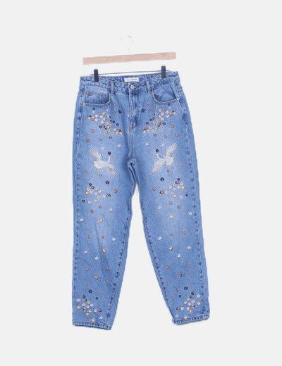 Pantalón vaquero detalles bordados