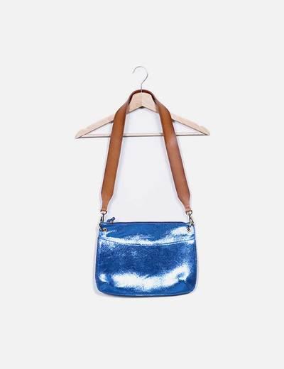 Bolso de hombro azul glitter combinado Beneditas