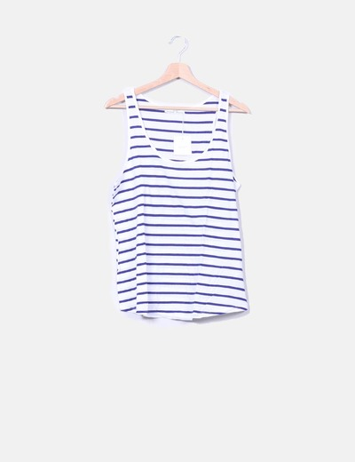 Top blanco rayas navy Zara