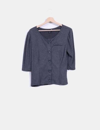 Top tricot gris abotonable