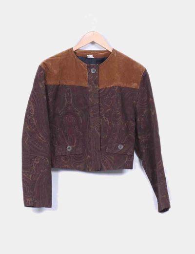 Chaqueta vintage con hombreras marrón  NoName