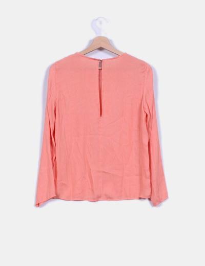 Blusa manga larga naranja mandarina detalle colgante