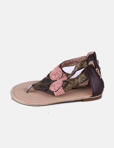 Sandales plates marron avec strass Suiteblanco