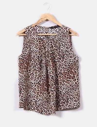 Blusa de seda print leopardo Zara