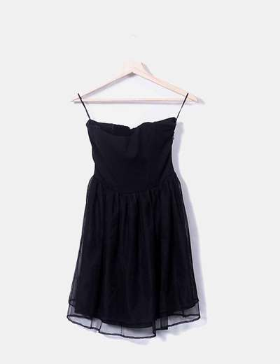 Black strapless chiffon dress Mango