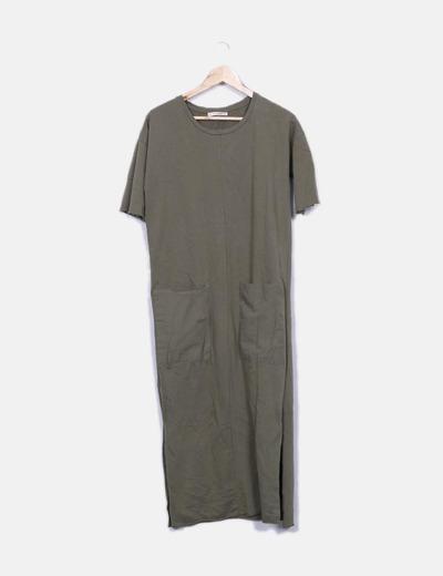 Vestido maxi kaki con aberturas