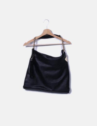 Bolso maxi negro detalles dorados NoName
