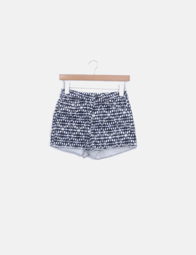 Shorts denim estampado azul marino