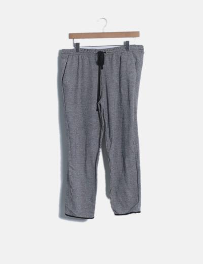 Pantalón baggy cuadros gris