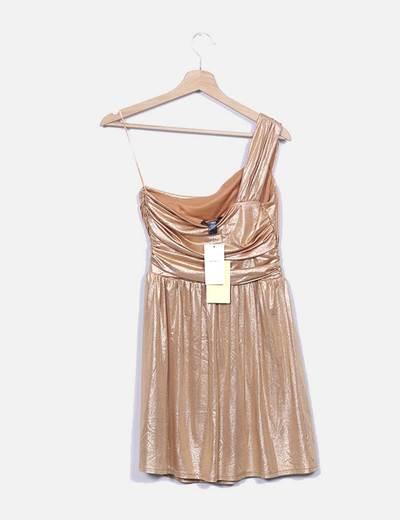 Vestido gold asimetrico