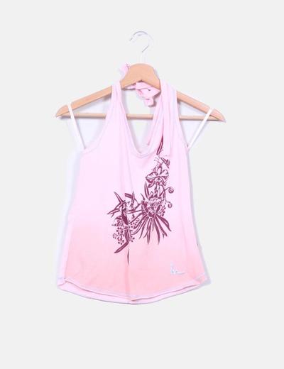 Top rosa cuello halter Mioko