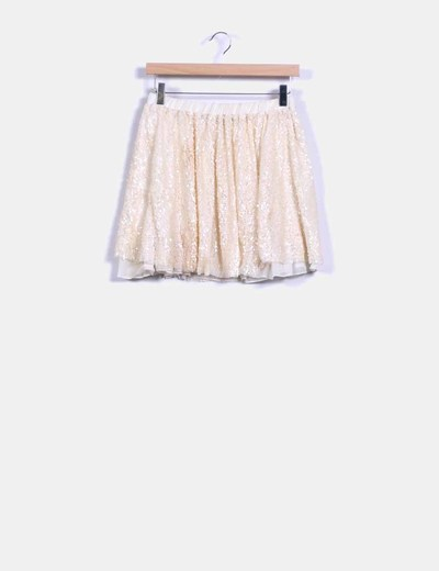 Falda nude con paillettes Zara