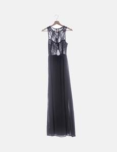8a6aaeedeb Vestido maxi negro detalle encaje con botones Zara