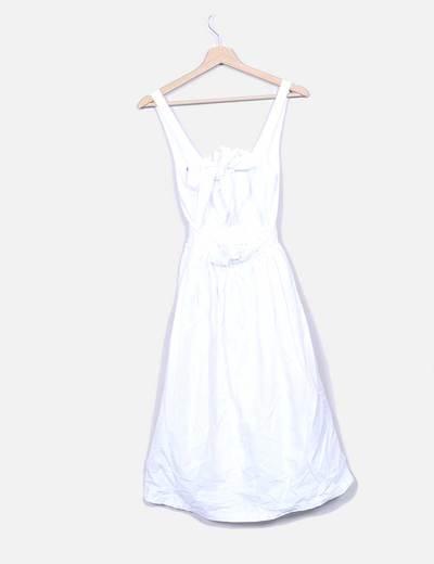 Vestido midi blanco detalle tirantes