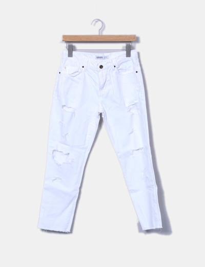 2d153ba8f2 Zara Jeans denim blanco con rotos (descuento 74%) - Micolet