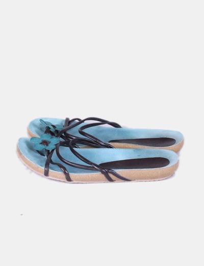 Sandales plates brown et vert Yokono